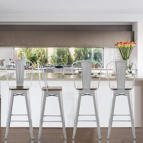 Mecor Metal Bar Stools Set of 4 w/Removable Backrest, 30'' Dining Counter Height Chairs with Wood Seat, Silver