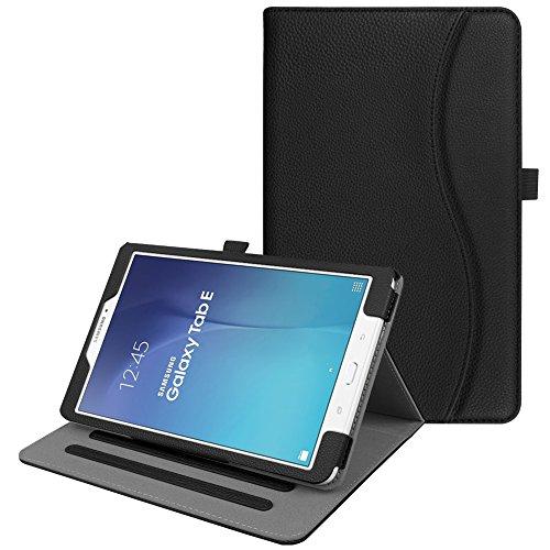 Fintie Hülle für Samsung Galaxy Tab E 9.6 T560N / T561N (9,6 Zoll) Tablet-PC - Multi-Winkel Betrachtung Kunstleder Schutzhülle Etui mit Dokumentschlitze & Auto Schlaf/Wach Funktion, Schwarz