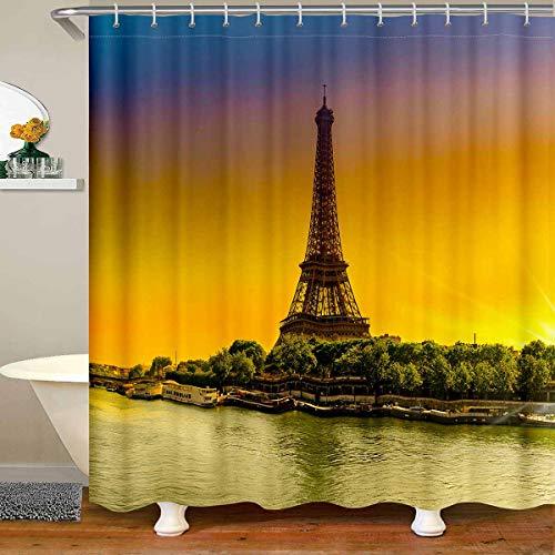 Loussiesd Cortina de ducha de tela de la torre Eiffel para el baño, cortina de ducha para niños y adultos, cortina de baño de París de París con paisaje urbano de 180 x 200 cm