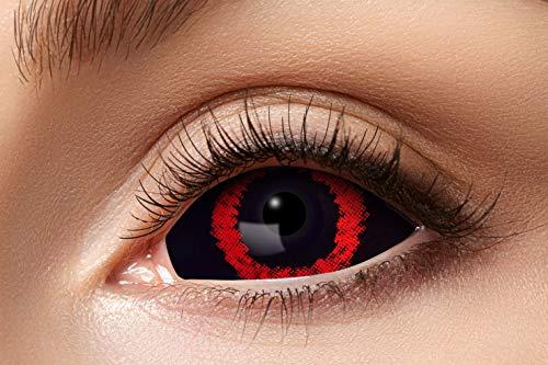 ZoelibatFarbige s07 Sclera Kontaktlinsen für 6 Monate, 2 Stück, BC 8.6 mm, 22mm, Red Demon, in Markenqualität, für Halloween, Fasching, Karneval, rot/schwarz