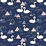 Pingianer 8,98€/m Schwan Dreiecke 100% Baumwolle 50x160cm