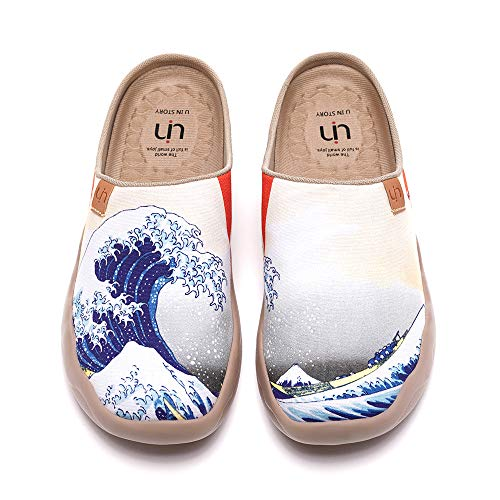 UIN Women's Slippers Fashion Canvas Comfort Wide Toe Casual Household Slip On Travel Shoes Great Wave Off Kanagawa (10.5)