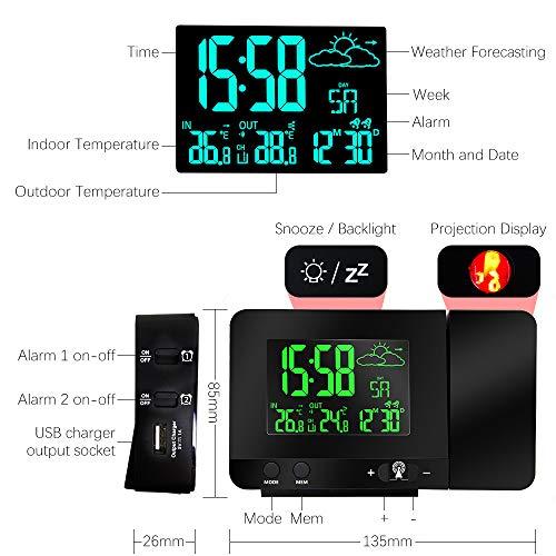 Radio Despertador Digital Proyector, Dobles Alarmas, Puerto Usb ...