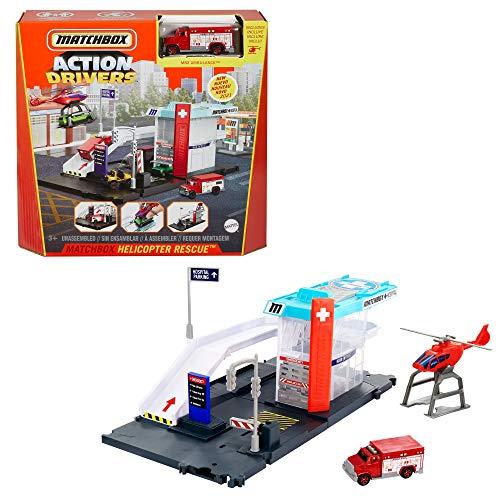 Matchbox GVY83 - Notrettung Spielset mit 1 Krankenwagen im Maßstab 1:64 und Hubschrauber mit Transportmöglichkeit für Fahrzeuge, für Kinder ab 3 Jahren, Mehrfarbig