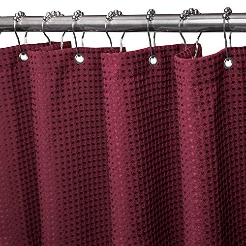 Cortina de ducha Waffle con ganchos de acero inoxidable, cortinas de ducha de tela resistente con tejido de gofres, cortina de ducha decorativa repelente al agua para baño, 182 x 182cm (Borgoña)
