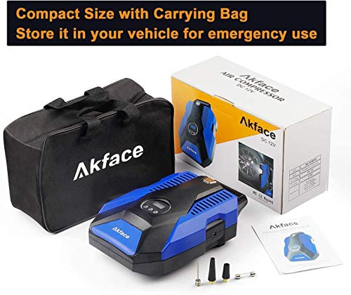 Akface Tire Inflator Portable Air Compressor, DC 12V Digital Air Pump for Car Tires, Bicycles and Other Inflatables, Auto Shut Off Feature, Blue