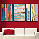 yhyxll Color nórdico Raya Pared Arte Lienzo Pintura para Sala decoración Laminas Decorativas Pared Cuadros D 50X75cm