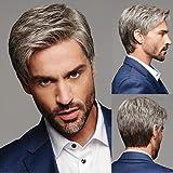 Peluca sintética para hombre, pelo corto gris natural para hombre, peinado para cosplay, peluquín, buenos regalos para papá, pelucas de repuesto