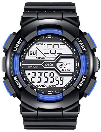 Herren Uhren Digital Militär Große Draussen Wasserdicht Design Armee Armbanduhr LED Casual Armbanduhr für Herren Jungen 30M Gummi Schwarz Wecker/Kalender/Stoppuhr/Stoßfest-KDM Schwarz Blau