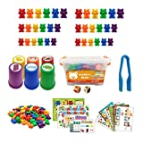 Arcoíris contando Osos Juego de reconocimiento de Color Juego Educativo de Juguetes manipuladores de matemáticas preescolares para niños pequeños.
