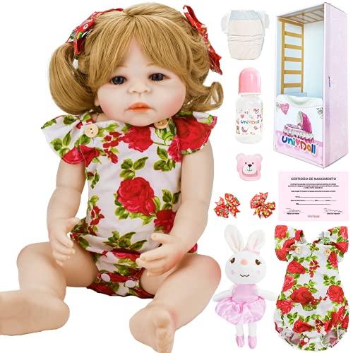 Boneca Bebê Reborn Menina Loira Olhos Azuis Vivian Pode Tomar Banho UniDoll