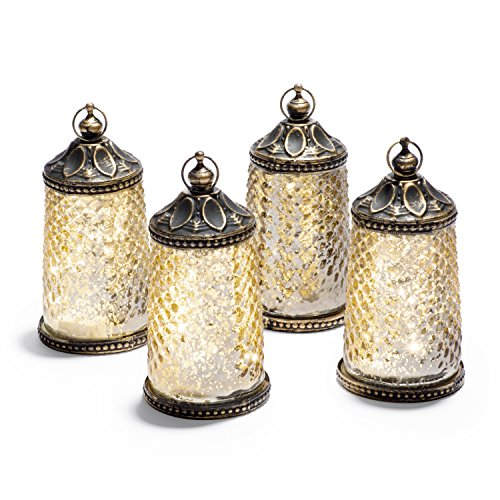 "Mini Gold Mercury Glass Lanterns - Set of 4, Warm White LED Lights, 4"" Height, Antique Bronze Accents, Battery Operated, For Halloween, Weddings and Home Decor"