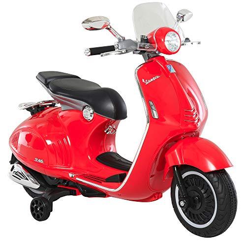 HOMCOM Elektrofahrzeug, Kinderfahrzeug, Kindermotorrad, Elektro-Motorrad mit MP3-Musik Beleuchtung, 3-6 Jahre, PP, Rot, 108 x 49 x 75 cm
