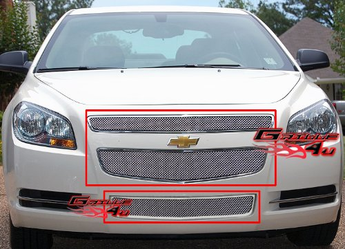 APS Compatible with 2008-2012 Chevy Malibu Stainless Steel Mesh Grill Combo N19-T51017C
