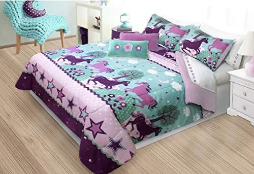 Country Living Purple Pony & Horses Girls Full/Queen Comforter & Shams Set (3 Piece Bedding) + Homemade Wax Melts