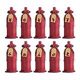 LOKIPA Bolsas de regalo de vino de arpillera, 12 unidades de yute para botellas de vino co...