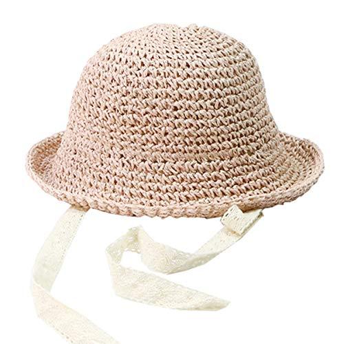 Aikowener Baby Mädchen Sonnenhut Spitze 50UV Schutz Große Diskette Rand Hut UV Schutz Sommer Faltbarer Strohhut Beachwear Reise (Size 1, Pink)