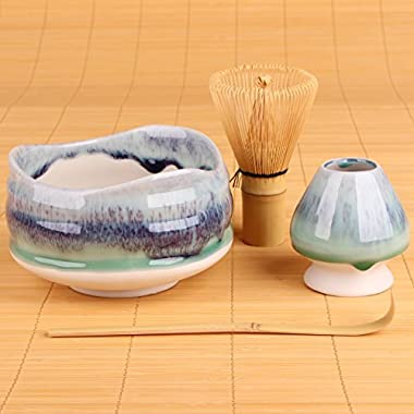Goodwei Premium Matcha Tea Set Sumi - Ceremonial Bowl Chawan, Whisk and Holder - Gift Bo (120)