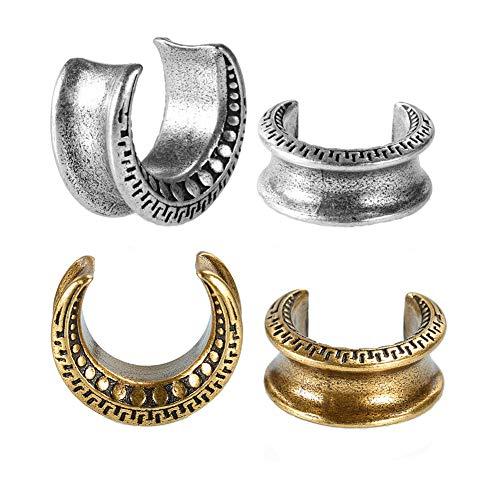 COOEAR Calibradores para tamaños de 6mm a 25mm, túneles de carne de medio círculo redondo punk, dilatadores de oreja, pendientes de embalaje de regalo