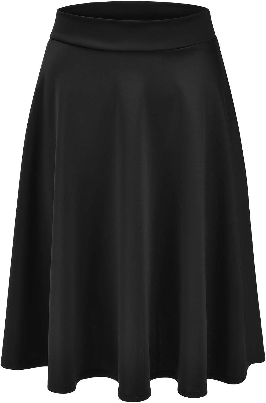 EIMIN Women's Basic Versatile Stretchy Flared Casual Midi Skater Skirt (S-3XL)