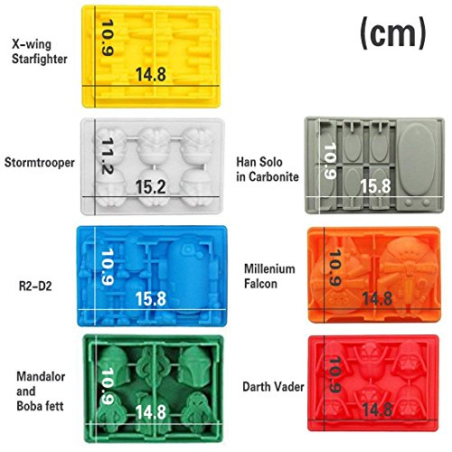 Sunerly Silicone Ice Tray Moulds in Star Wars Character Shapes, Ideal for Chocolate, Ice Cubes Trays, Jelly, Sweets, Desserts, Baking Soap and Candle Making (Set of 7)