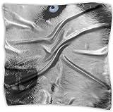 Pañuelo cuadrado de seda mulipurposa, diseño de lobo con ojos azules de oveja blanca y ojos azules