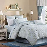 Softta Queen Size Vintage Hibiscus Flower Modern Reversible 3Pcs Duvet Cover Set Easy Wash Girls Bedding Set Ultra Soft 100% Egyptian Cotton Bedding Collection Mickey Blue