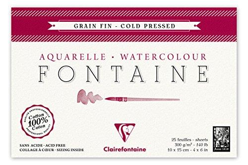 Clairefontaine 96436C Malblock Kopfseitig Geleimt Aquarellpapier Feinkörnig, Fontaine/Hadern, 10 x 15 cm Postkartenformat, 25 Blatt, 300 g Packung, weiß