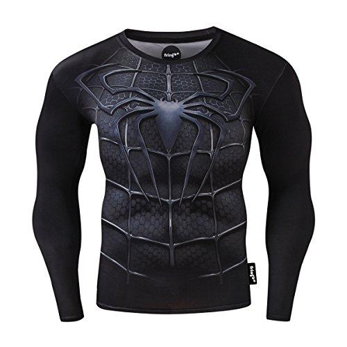 Fringoo - Maglia intima tecnica a compressione da uomo, a maniche lunghe, per palestra, corsa, allenamento, motivo supereroe, Spiderman, Superman, Batman Spiderman nero S