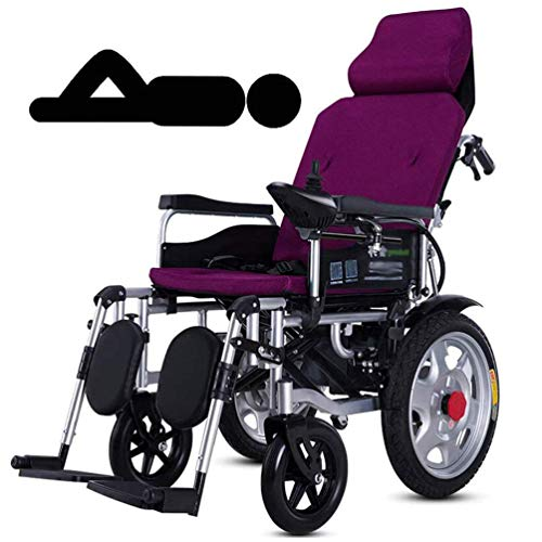 LWF Heavy Duty Electric Wheelchair with Headrest, Dual Motor, Electric Power Or Manual Manipulation, Adjustable Backrest and Pedal, Joystick