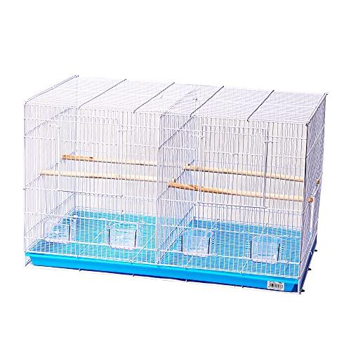 Dizelin Jaula metálica de criar para pájaros Jaula para Aves Jaula de Cría para Pájaros con Comedero Bebedero Saltador 45.5 * 46 * 76CM (Azul)