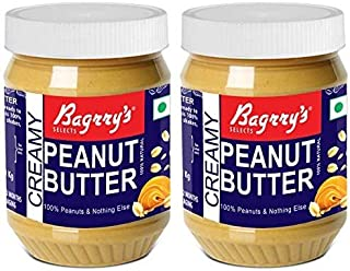 Bagrry's Natural Peanut Butter, Creamy, 340 GM, Unsweetened (Pack of 2)