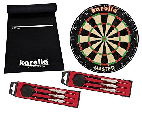 Karella Dart Starter Set mit Dartboard, Dartmatte ECO-Star und 2 Dartpfeilsätzen ST-1