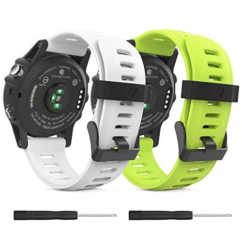 MoKo Pulsera Compatible con Fenix 3/3 HR/5X/5X Plus/D2 Delta PX/Tactix Bravo/Descent Mk1/Quatix 3, [2 Pzs] Correa de Silicona Respirable y Reemplazable, Banda de Reloj Deportivo - Blanco & Verde
