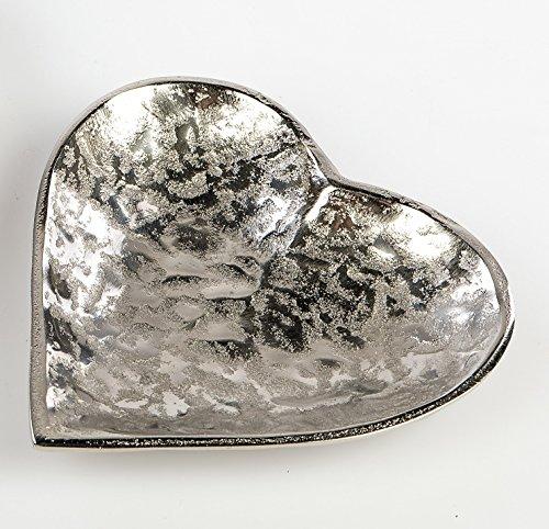 formano Aluminium Schale Herz Herzschale 24 cm Organic Silber Antik-Optik. Edle Wohnaccessoires