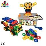 Jeu de construction créatif| 102 pcs XL: barres, vis, écrous, roues de voiture et...