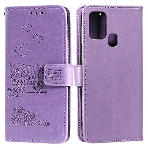 Nadoli Flip Handyhülle für Xiaomi Redmi 9C,Schutzhülle Pu Leder Geprägt Blumen Eule Magnetverschluss Wallet Brieftasche Lederhülle mit Standfunktion für Xiaomi Redmi 9C
