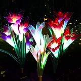 Lumière Solaire Extérieure swonuk 3 Pack Lampes Solaires de Jardin avec 12 Fleurs de Lys Lampes LED Décoration pour Terrasse Paysage Allée ( Rose, Violet et Blanc)