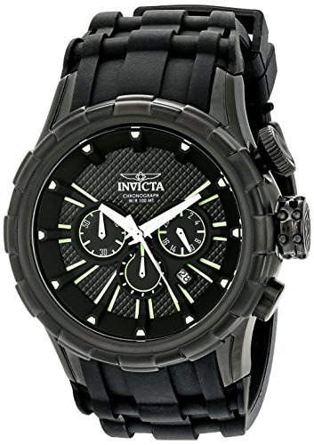 Invicta Men's I-Force 52mm Stainless Steel Chronograph Quartz Watch with Silicone Band, Black (Model: 16974)