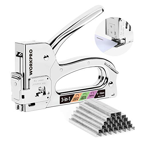 WORKPRO Handtacker Set,3 in 1 Tackerpistole mit einstellbarer Schusskraft Werkzeugtacker für Klammer typ 53,140,13 Ideal für Papier, Polster, Zimmerei,Dekoration,Möbel Inkl. 3200 Klammern