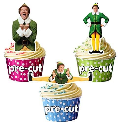 AK Giftshop Lot de 12 décorations comestibles prédécoupées pour cupcakes de Noël