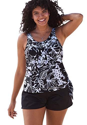 Swimsuits For All Women's Plus Size 2-Piece Blouson Swim Set - 14, Black White Print