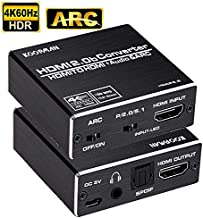4K HDMI to HDMI and Audio Extractor, Koopman HDMI to HDMI + Optical Toslink (5.1 SPDIF) + 3.5mm AUX Stereo Audio Converter, HDMI Audio Adapter, Supports HDMI 2.0b/4K@60Hz/HDCP 2. 2/3D/Dolby 5.1