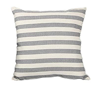 Woaills Linen Throw Pillow Cases, Stripe Print Simple Square Pillowcase Cushion Covers 18  x18  with Hidden Zipper (Gray)