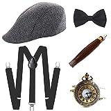 E EBETA Années 1920 Hommes Déguisements Accessoires, Flapper Accessoire Gatsby Costume Année 20 avec Chapeau Bretelles à Dos en Y Homme Faux Cigare Montre de Poche Vintage (A)