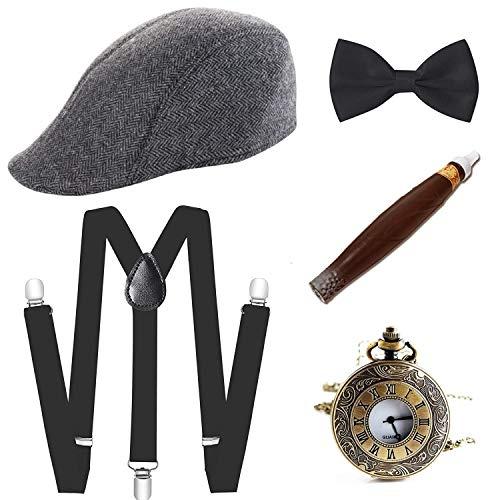 E EBETA 1920s Disfraces Accesorios Gatsby Accesorios para Hombre Cigar, Sombrero, Elástico Tirante, Pajarita y Reloj de Bolsilloo (A)