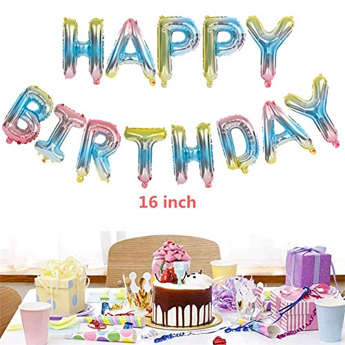 Geburtstagsdeko Regenbogen Happy Birthday Helium Folienballons Banner für Mädchen,16