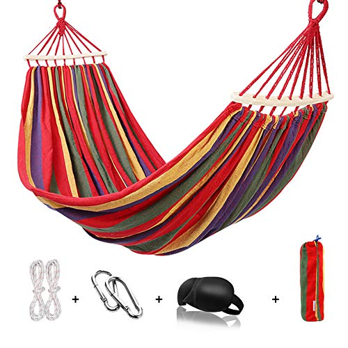 HappyGo Cotton Brazilian Hammock with Spreader Bar 9ft Canvas Hammock with Tree Straps & Carabiners Support to 550lbs for Patio, Backyard, Garden, Lounging, Outdoor(Red)