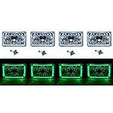 OCTANE LIGHTING 4X6' Green Led Halo Angel Eye Halogen Headlight Headlamp Bulbs Crystal Clear Set