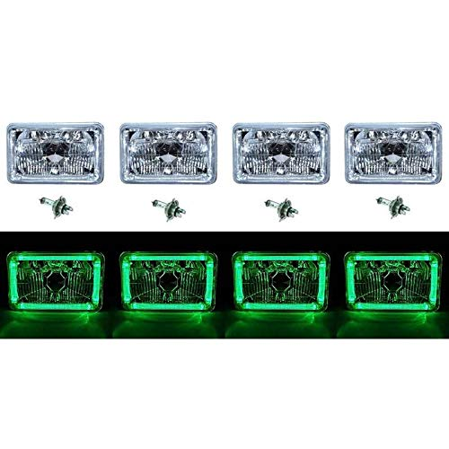 "OCTANE LIGHTING 4X6"" Green Led Halo Angel Eye Halogen Headlight Headlamp Bulbs Crystal Clear Set"